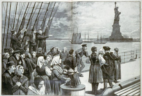 Immigrants by statue of Liberty in New York City - USA